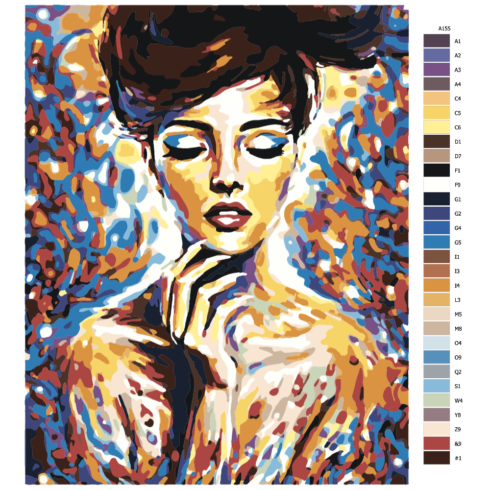 Návod pro malování podle čísel Divka v barve 2
