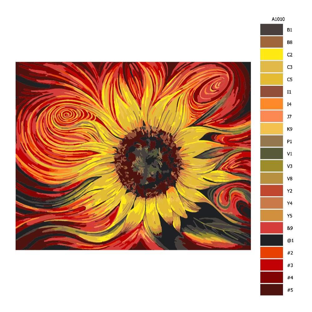 Návod pro malování podle čísel Žluto rudá slunečnice
