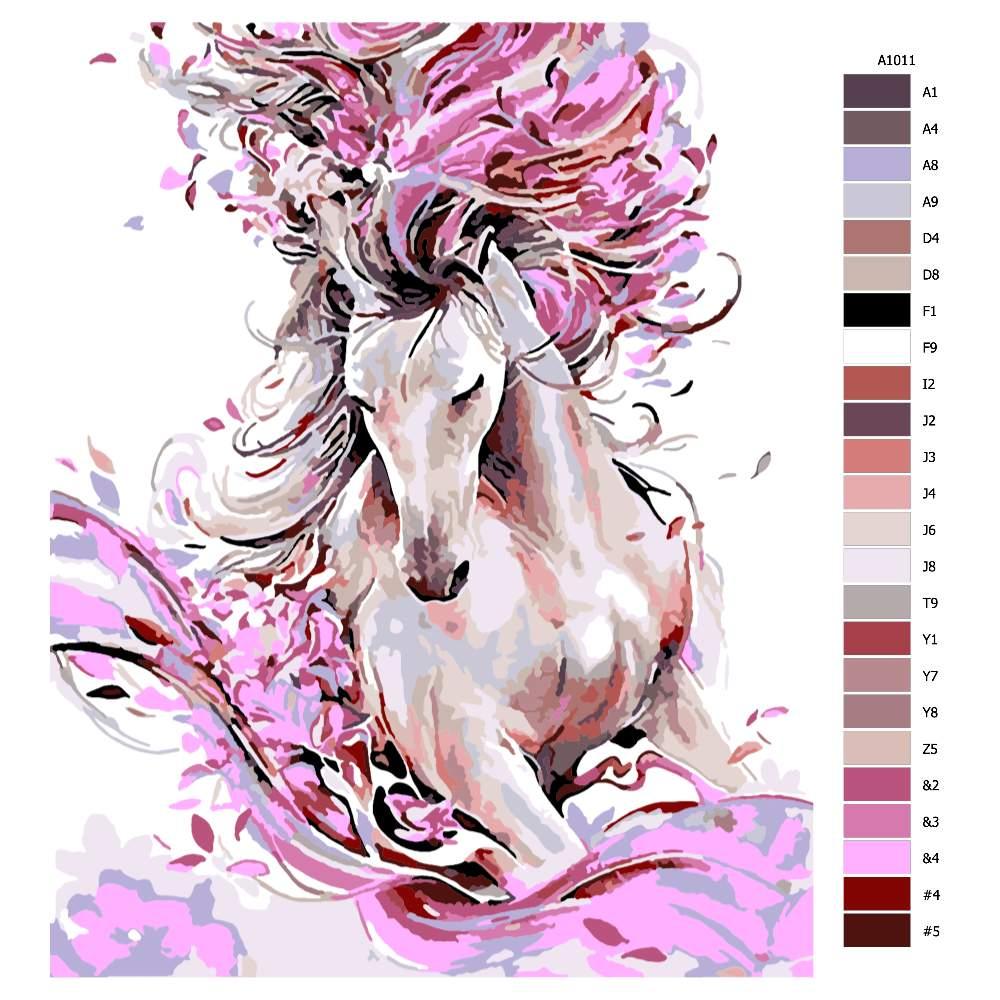 Návod pro malování podle čísel Kůň v barvách