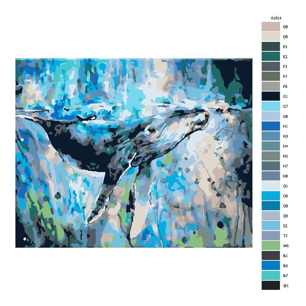 Návod pro malování podle čísel Velryba v moři