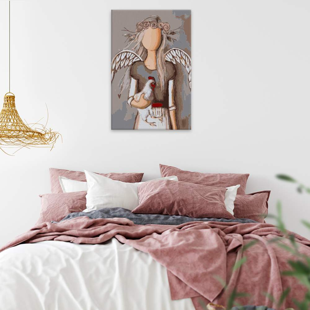 Obraz na zdi Anděl se slepicí