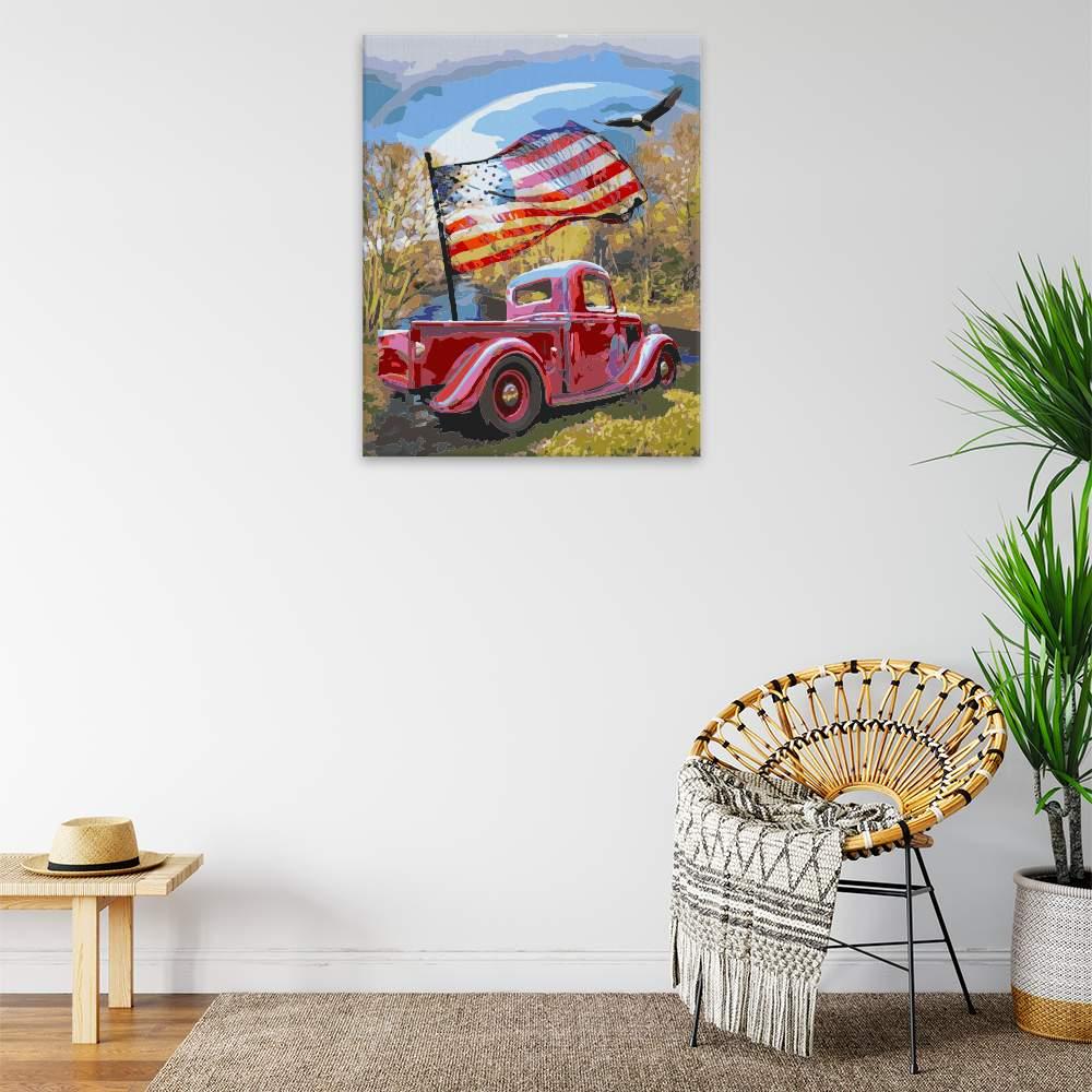 Obraz na zdi Auto s vlajkou