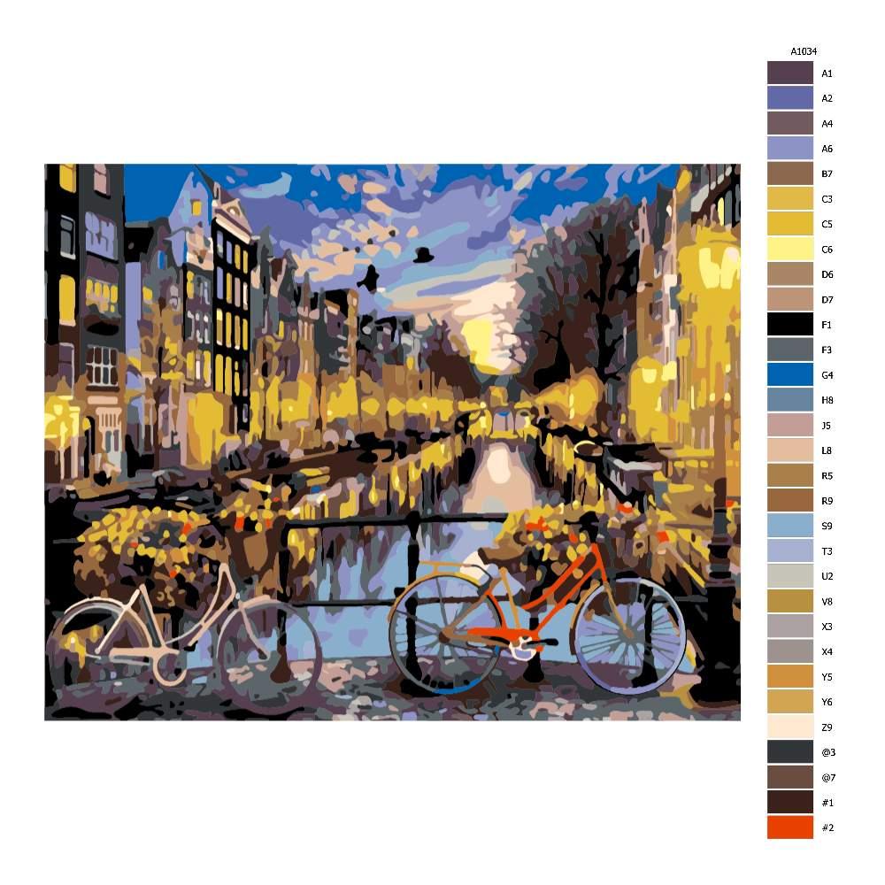 Návod pro malování podle čísel Kola v Amsterdamu