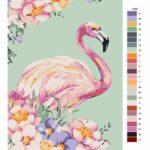 Malování podle čísel Plameňák v květech