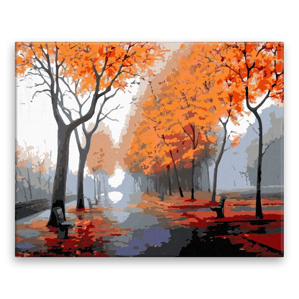 Malování podle čísel Podzim v ulicích