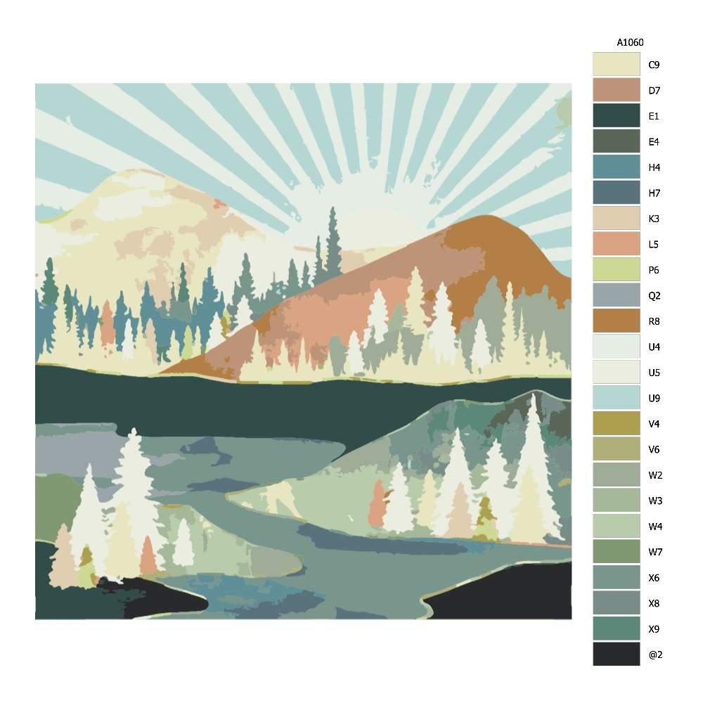 Návod pro malování podle čísel Podzimní slunce
