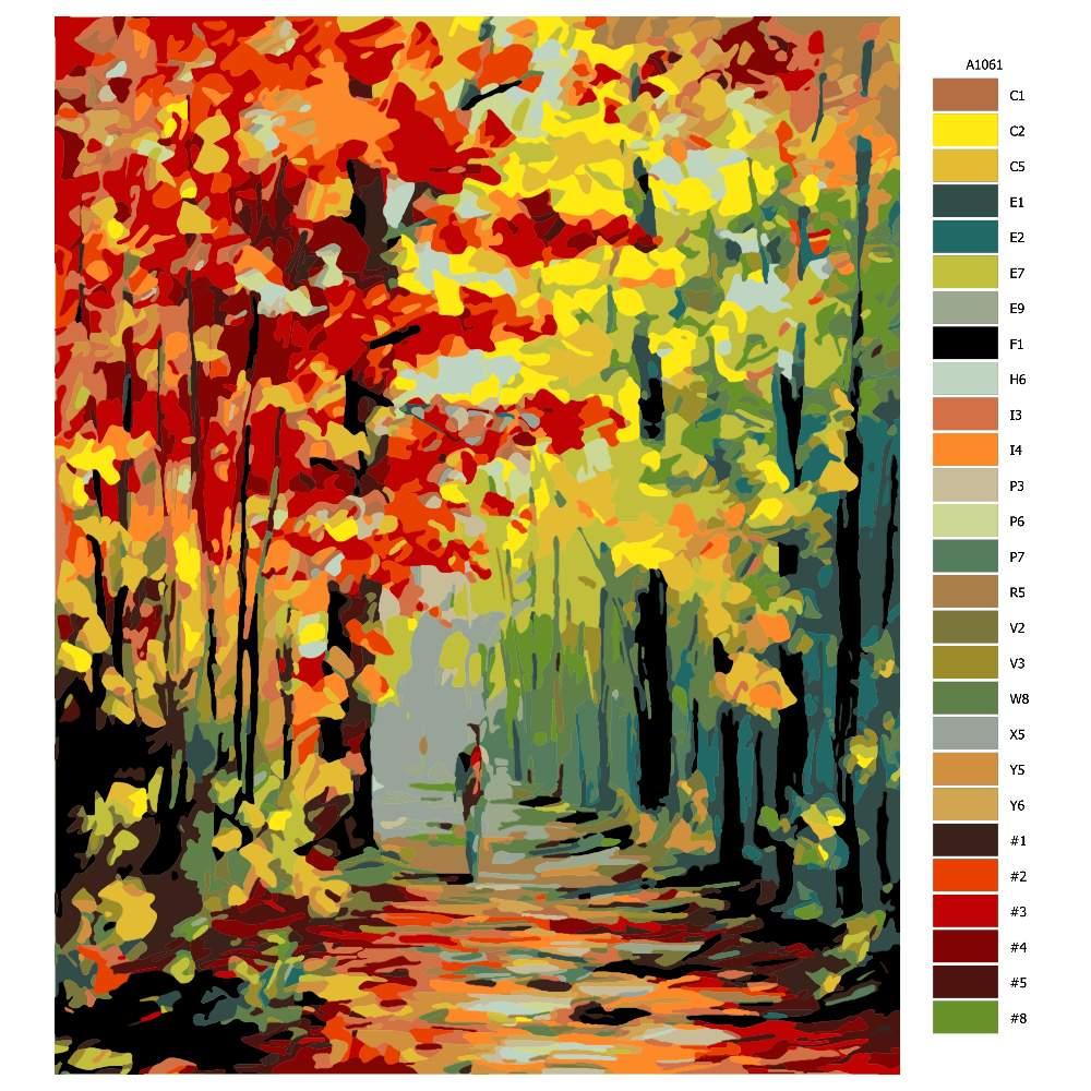 Návod pro malování podle čísel Podzimní alej