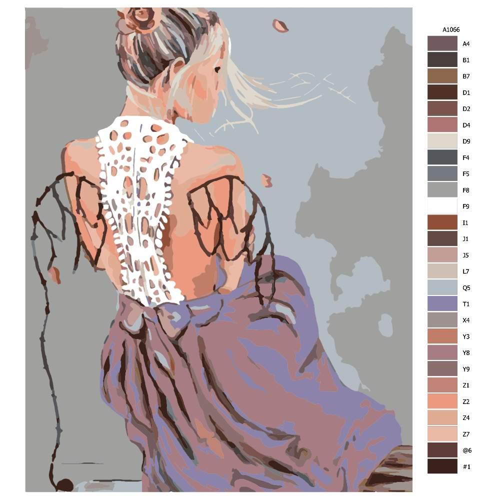 Návod pro malování podle čísel Dívka s křídly