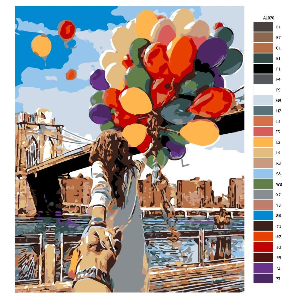 Návod pro malování podle čísel Balonky štěstí