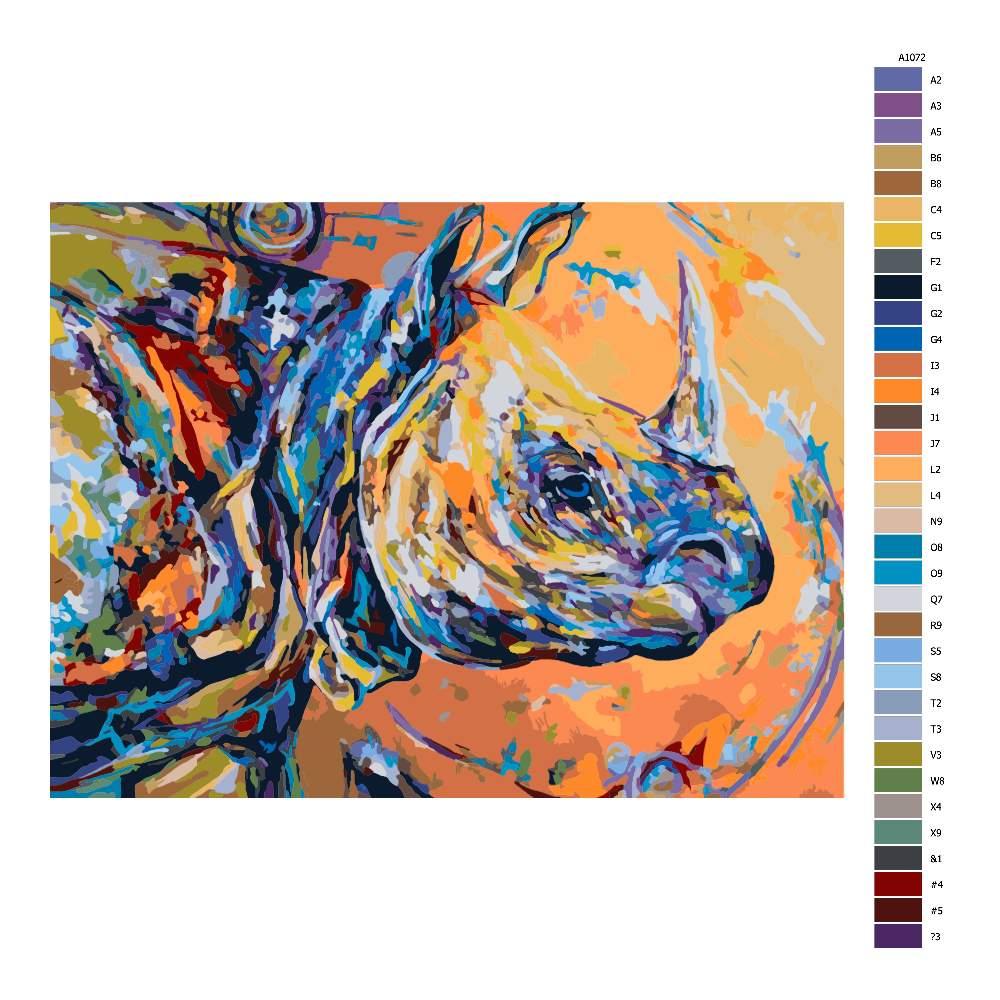 Návod pro malování podle čísel Barevný nosorožec40x30)