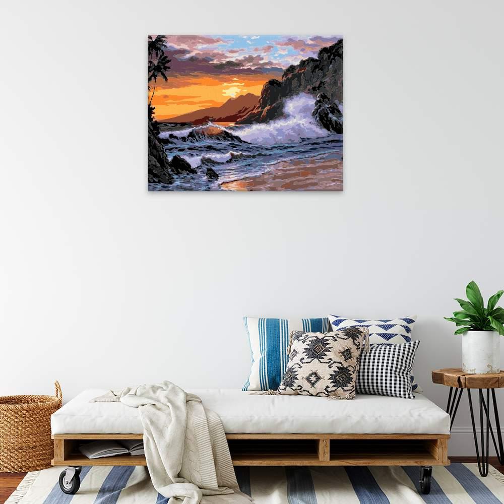 Malování podle čísel Západ slunce nad rozbouřeným mořem