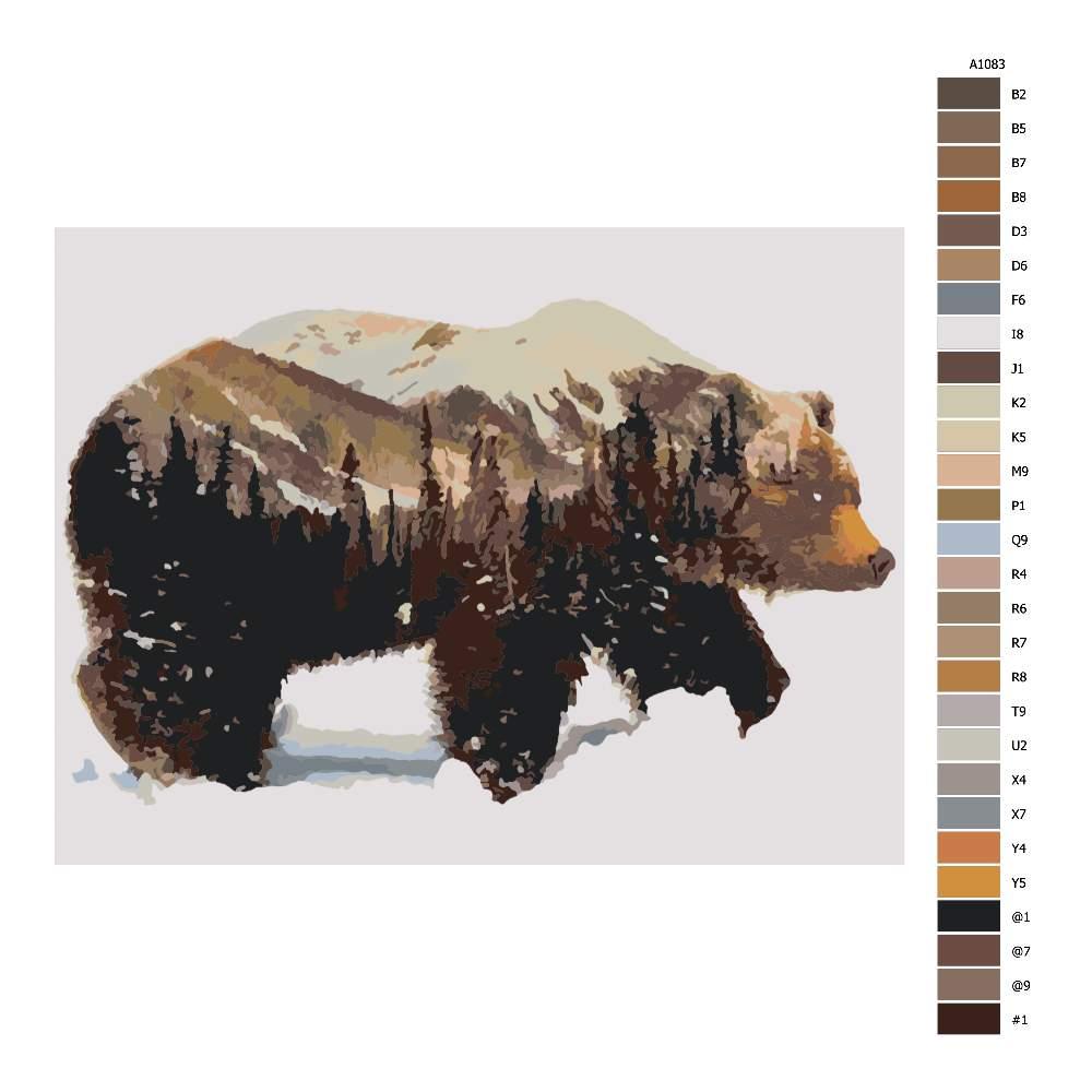 Návod pro malování podle čísel Les a medvěd