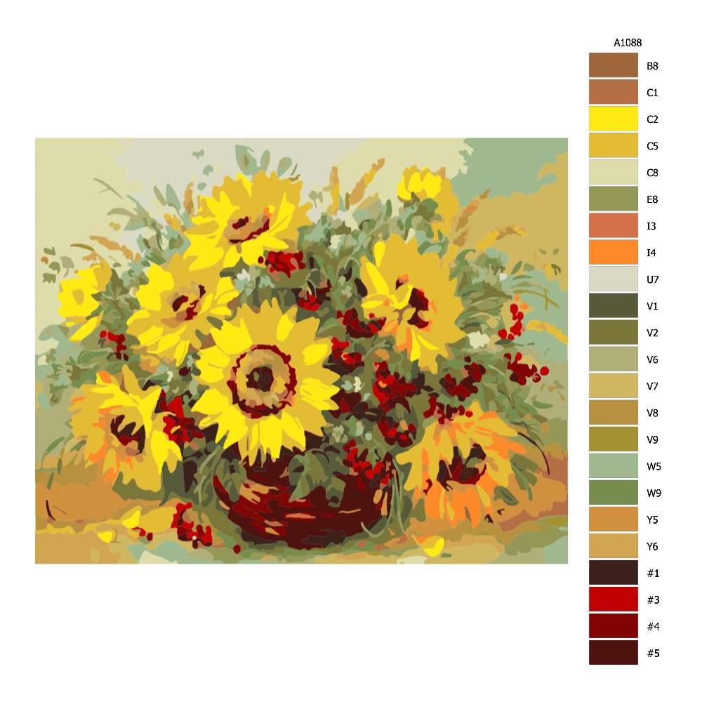 Návod pro malování podle čísel Slunečnice ve váze