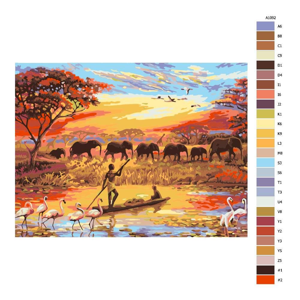 Návod pro malování podle čísel Afrika