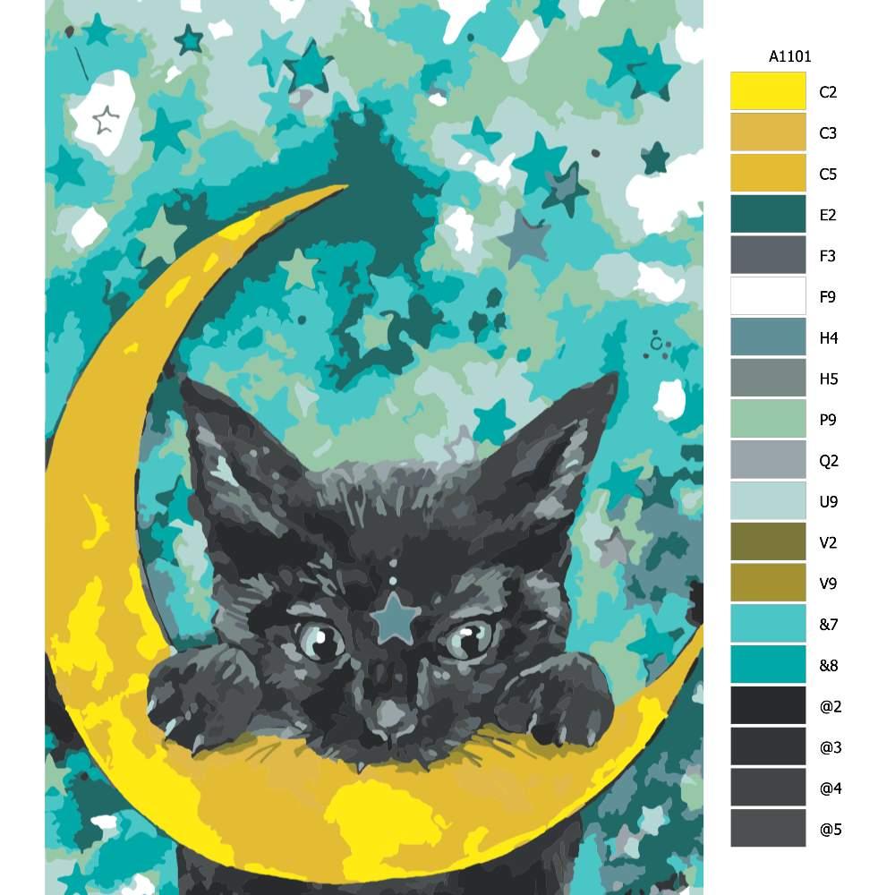 Návod pro malování podle čísel Kočka a měsíc