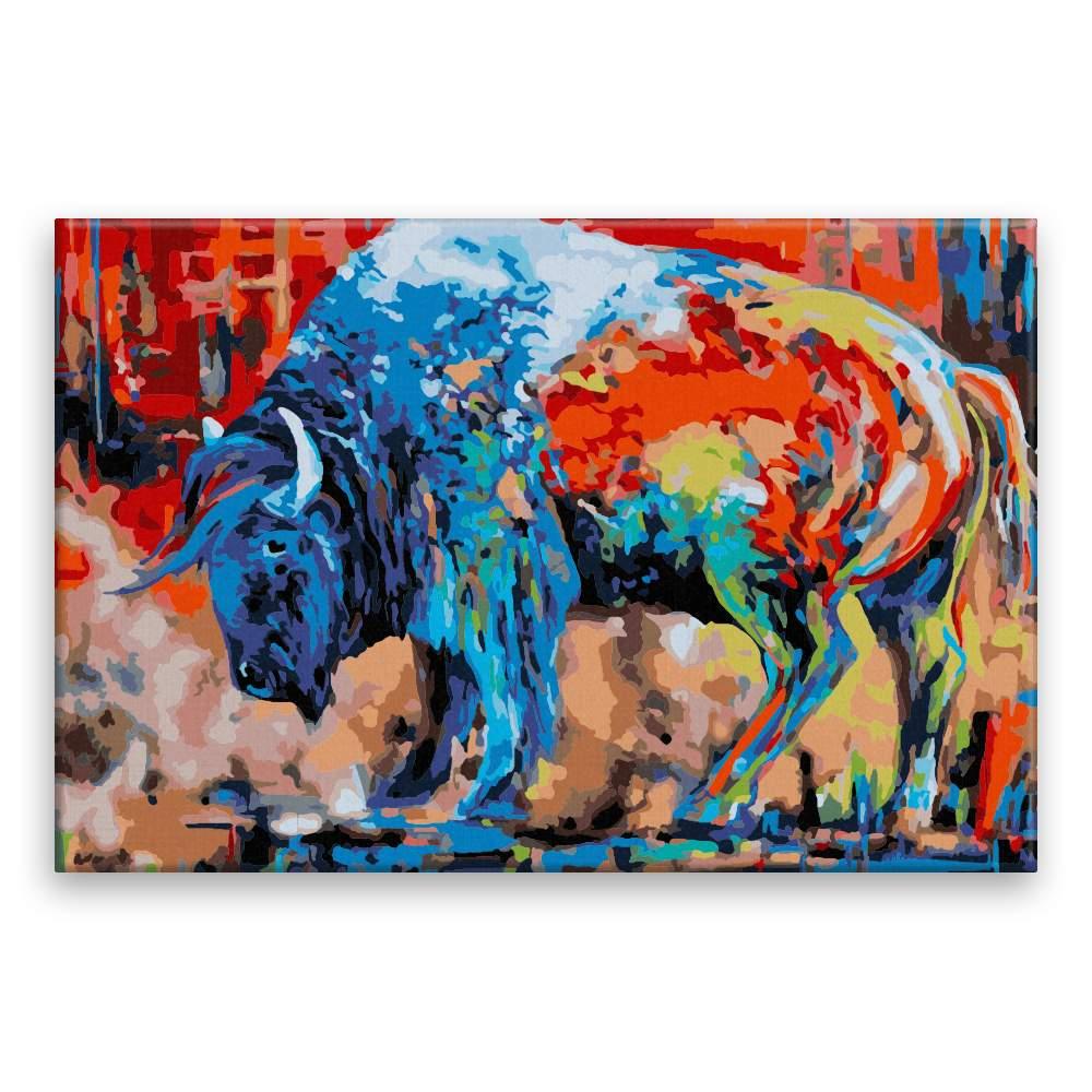 Malování podle čísel Buvol v barvách