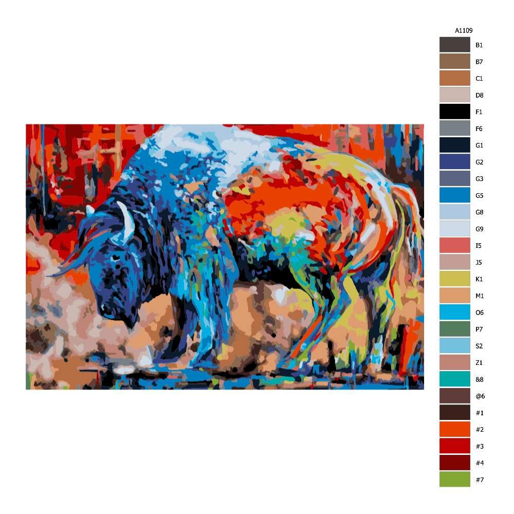 Návod pro malování podle čísel Buvol v barvách