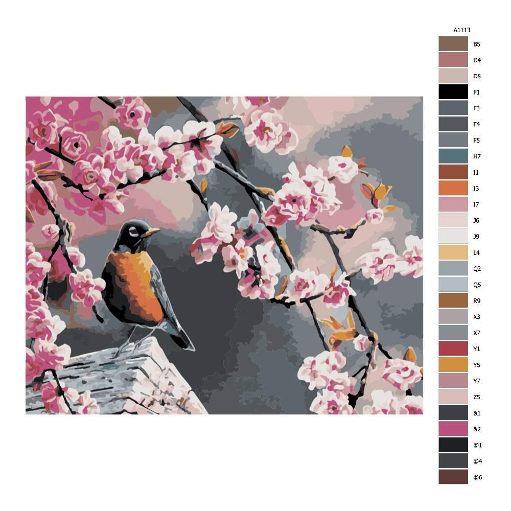 Návod pro malování podle čísel Pták a sakura
