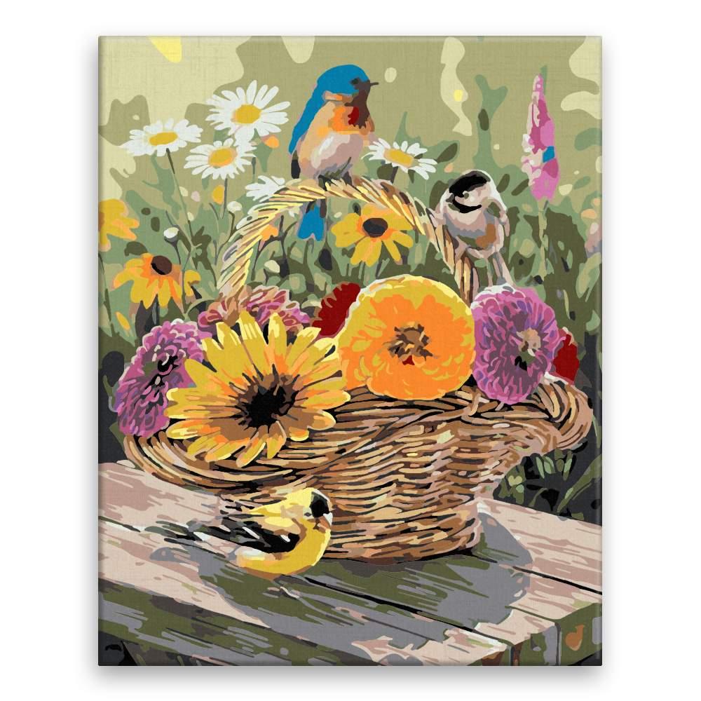 Malování podle čísel Květinový koš a ptáčci