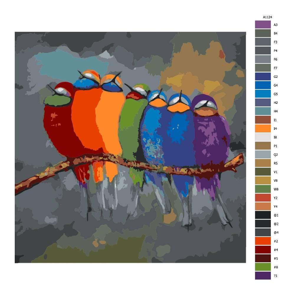 Návod pro malování podle čísel Ptáci v barvách