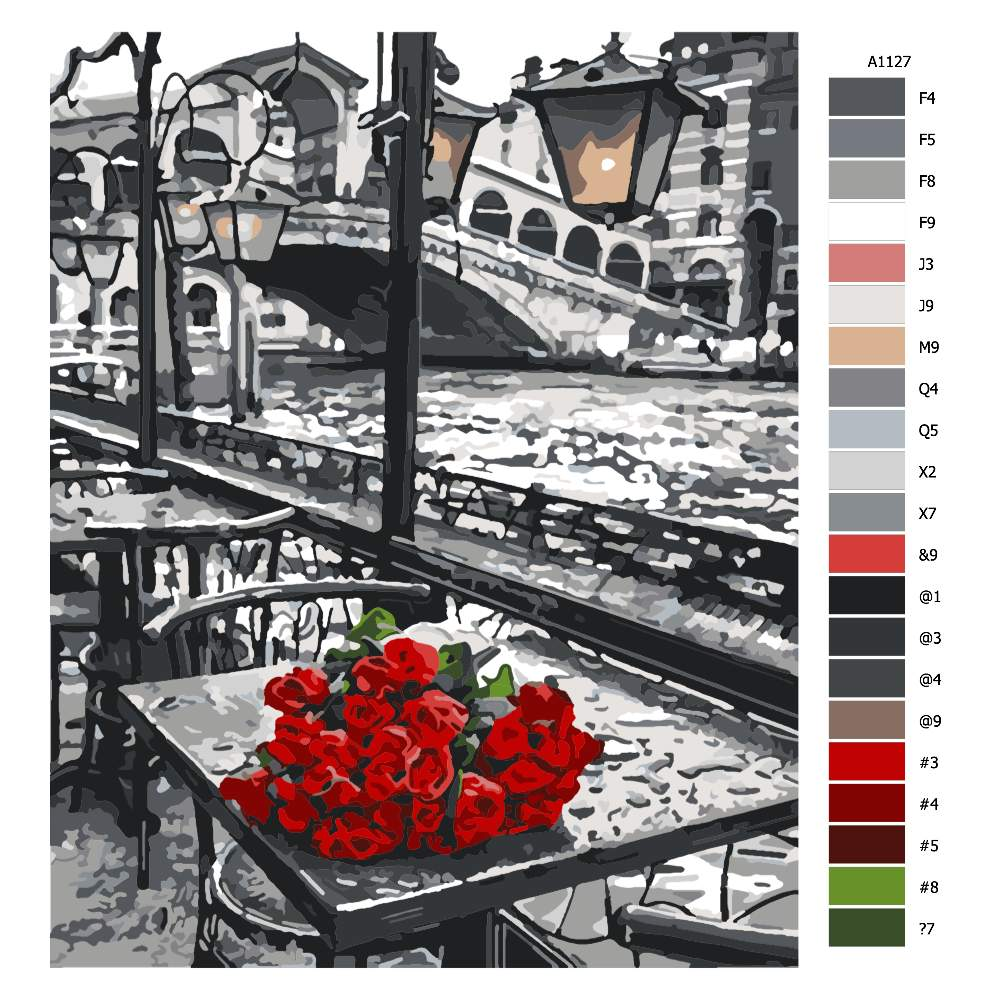 Návod pro malování podle čísel Pugét růží