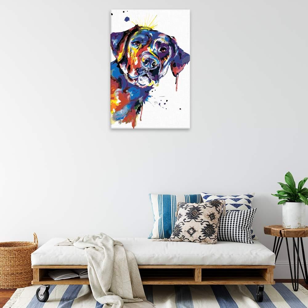Malování podle čísel Pestrobarevný labrador