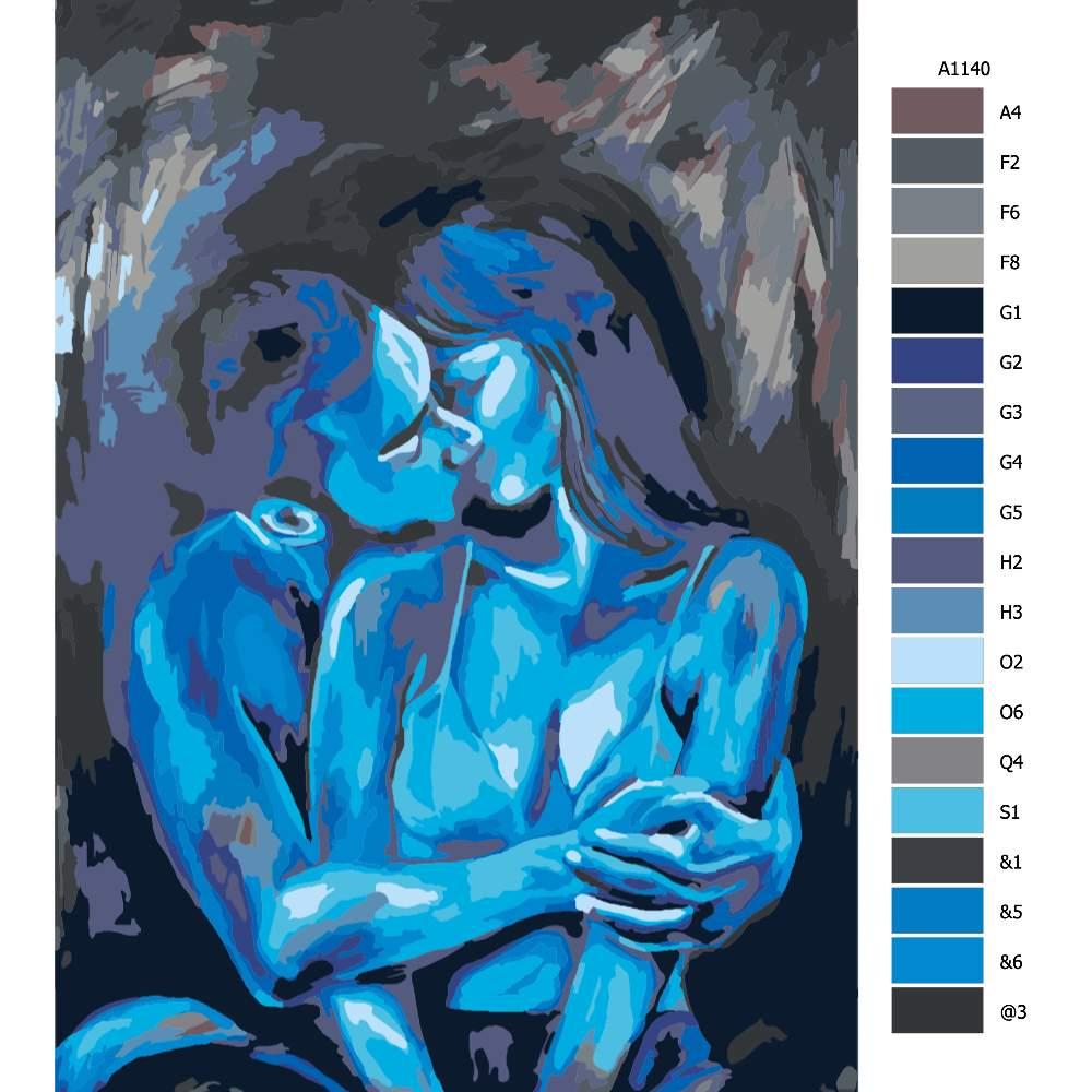 Návod pro malování podle čísel Modrá láska