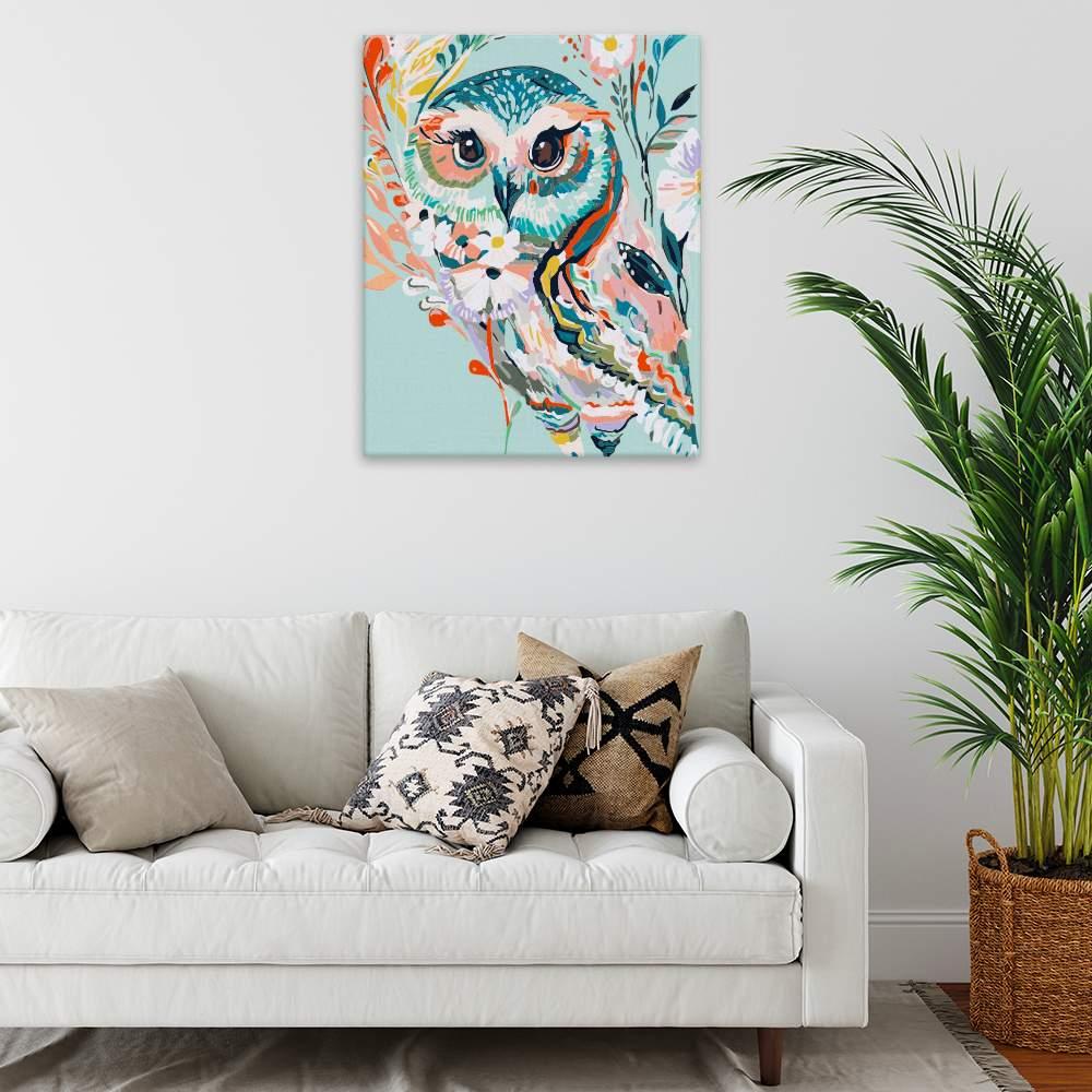 Malování podle čísel Barevná sova