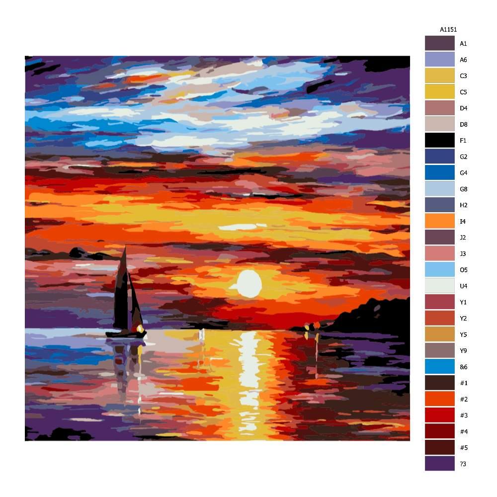 Návod pro malování podle čísel Západ slunce a loď
