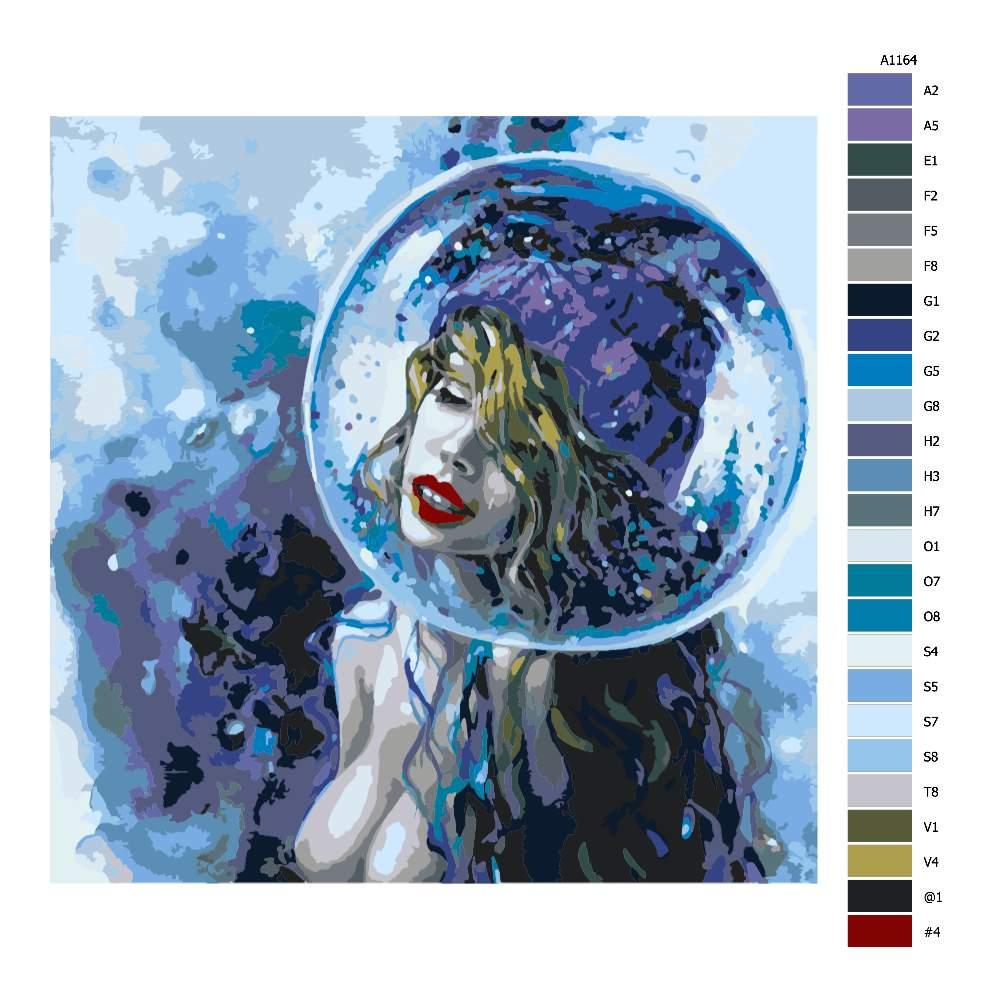 Návod pro malování podle čísel Žena v bublině