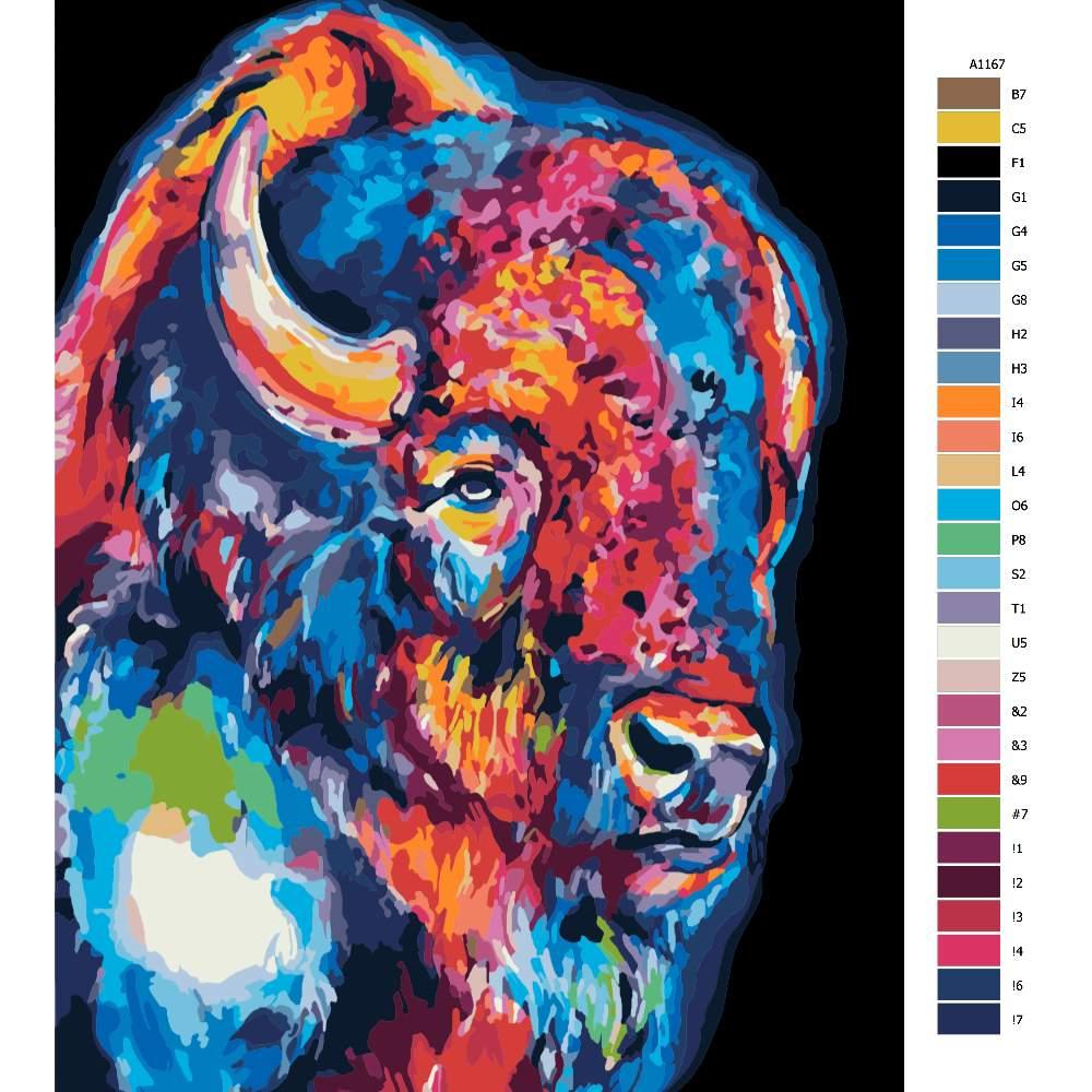 Návod pro malování podle čísel Bizon v barvách