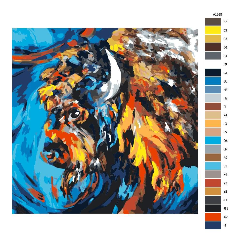 Návod pro malování podle čísel Naštvaný bizon