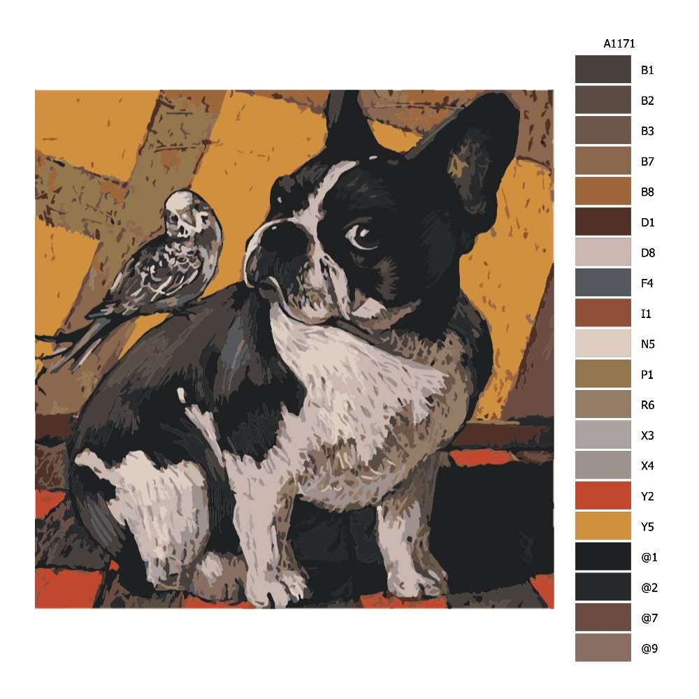 Návod pro malování podle čísel Buldoček s ptáčkem