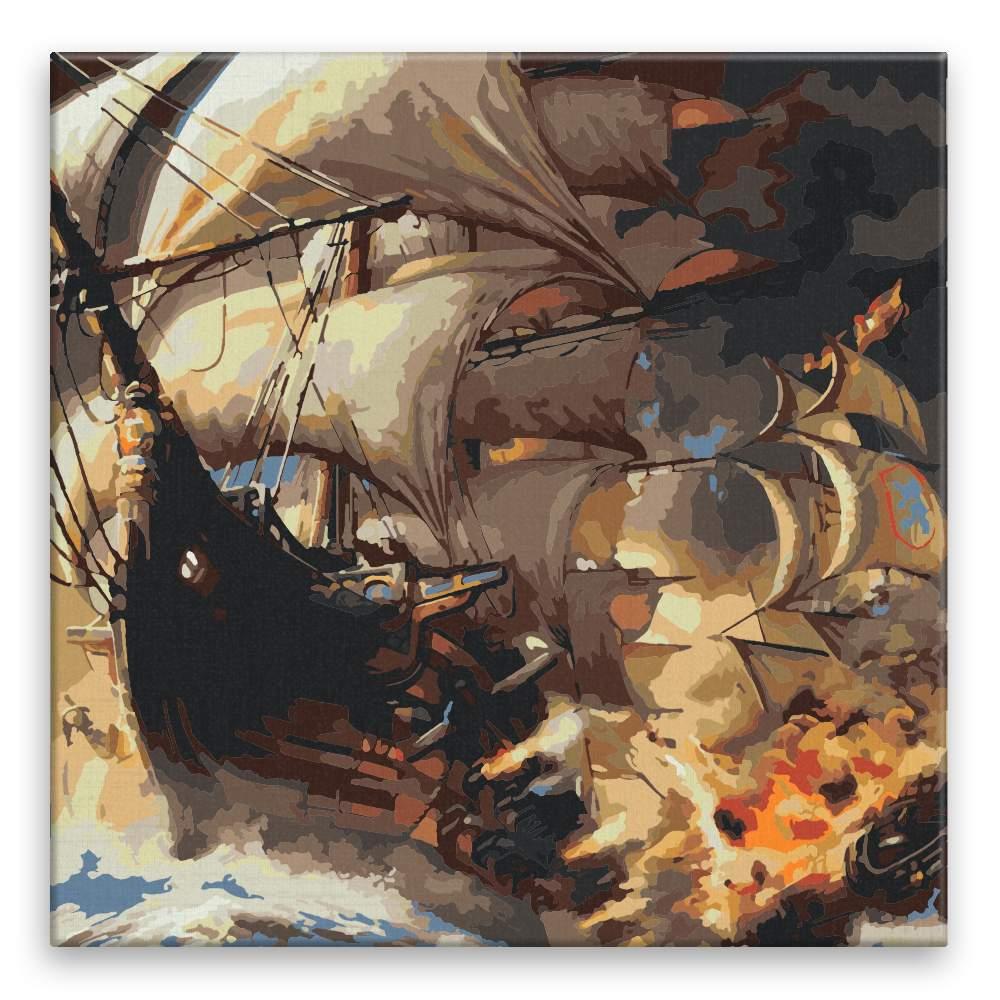 Malování podle čísel Hořící loď
