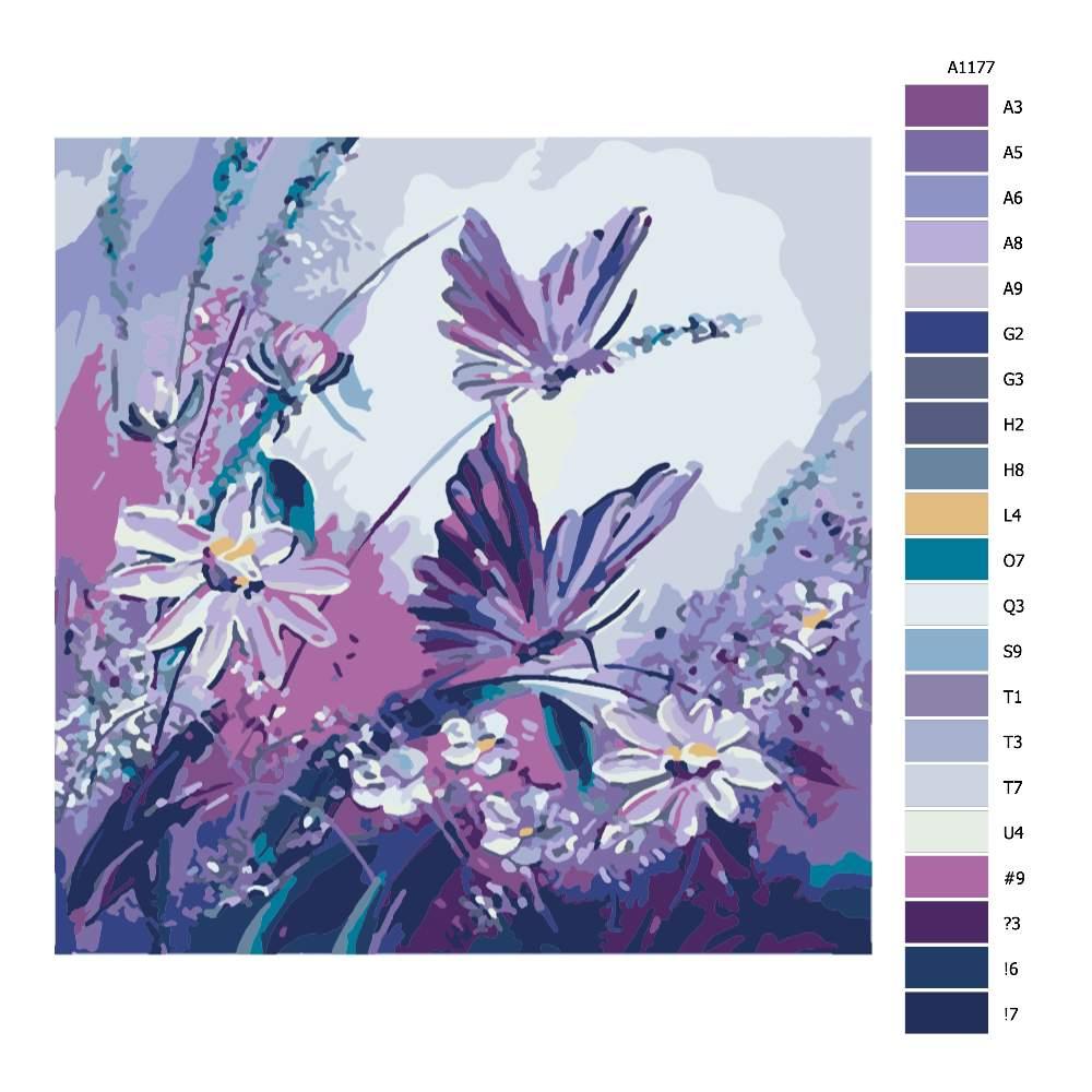 Malování podle čísel Motýli v louce