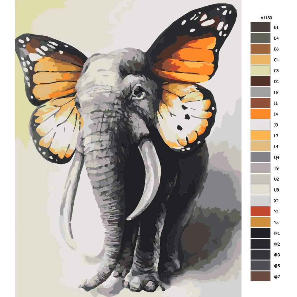 Návod pro malování podle čísel Slon s motýlími křídly