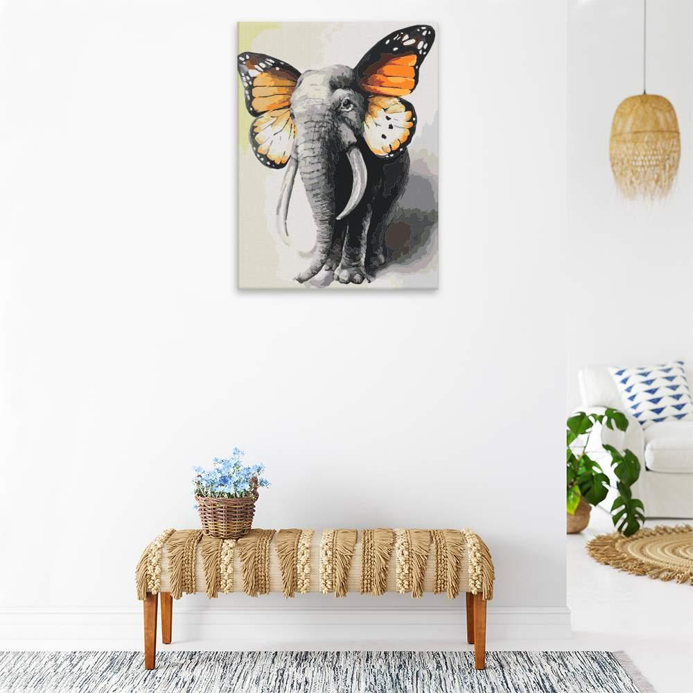 Malování podle čísel Slon s motýlími křídly