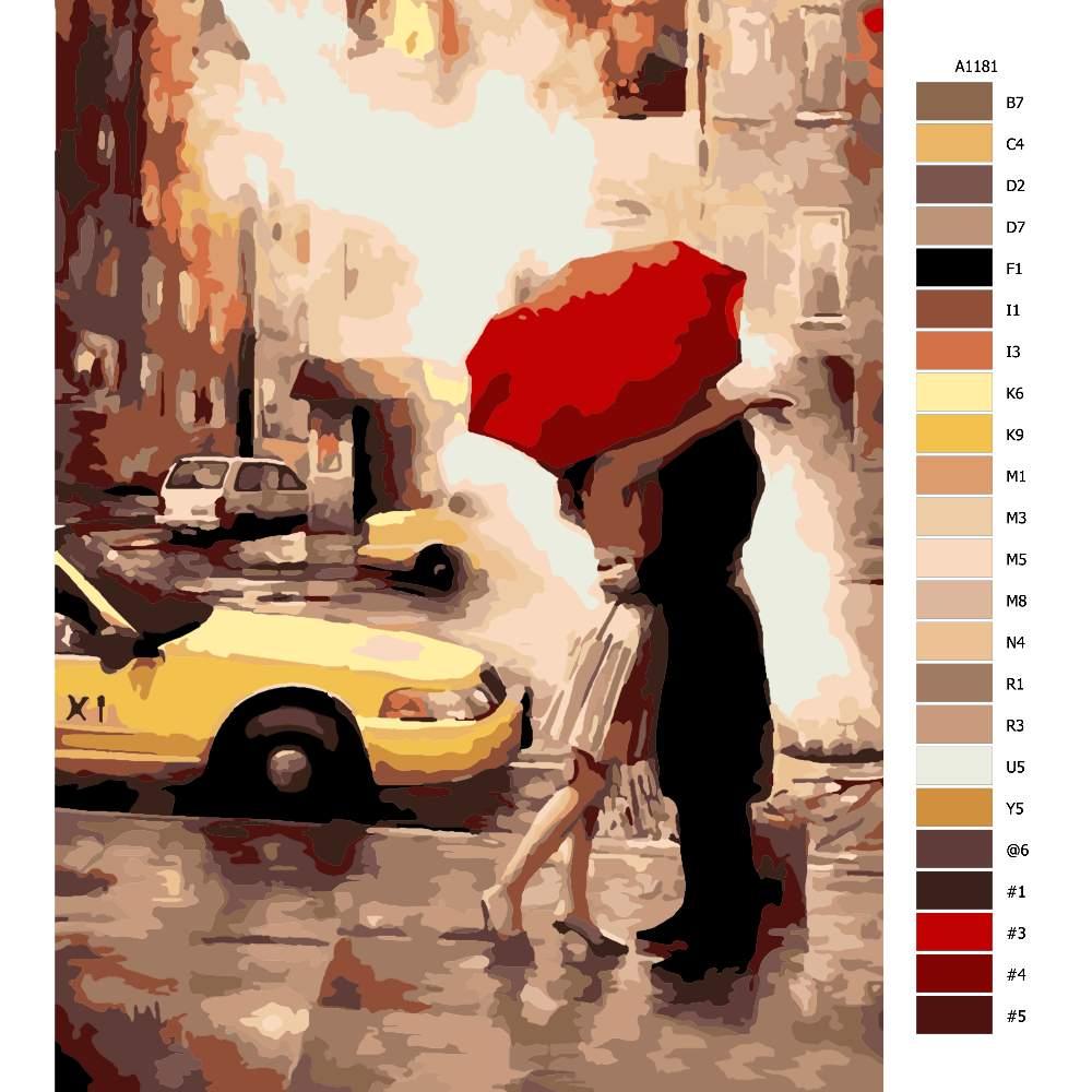Návod pro malování podle čísel Láska pod deštníkem