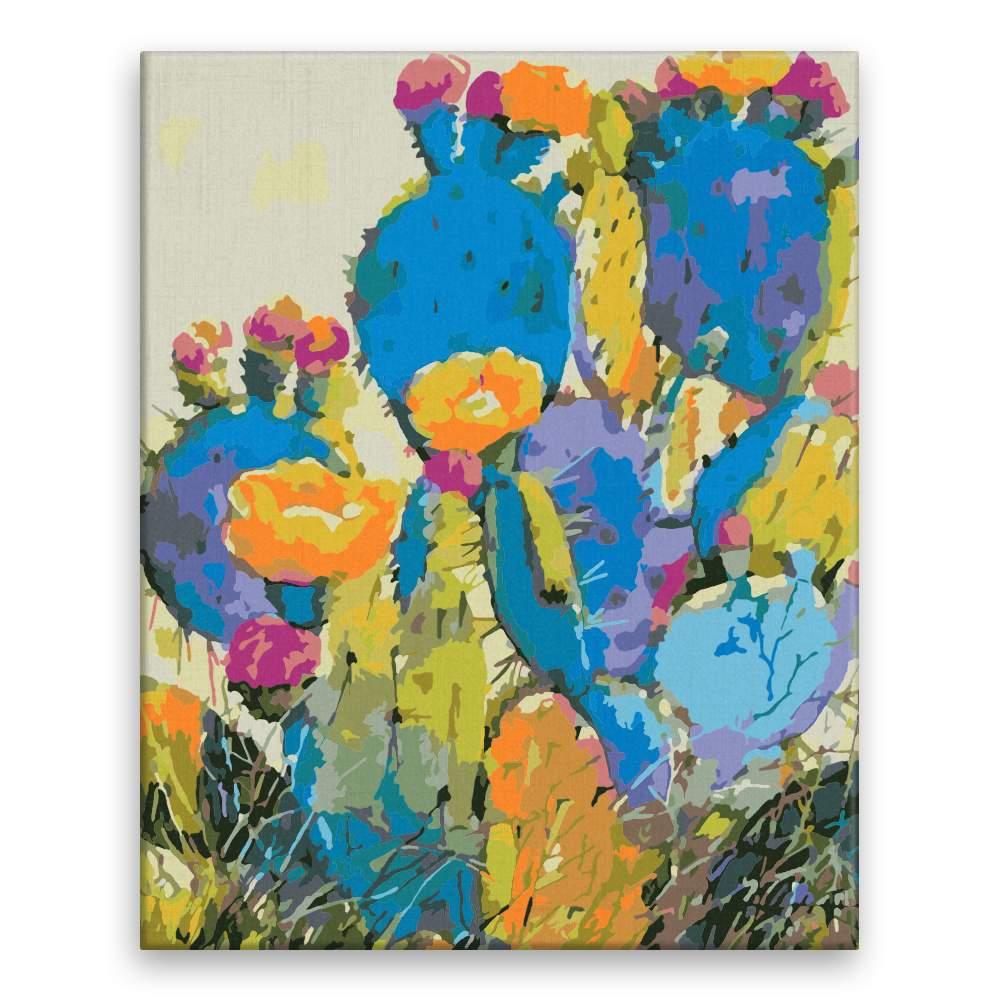 Malování podle čísel Různobarevný kaktus