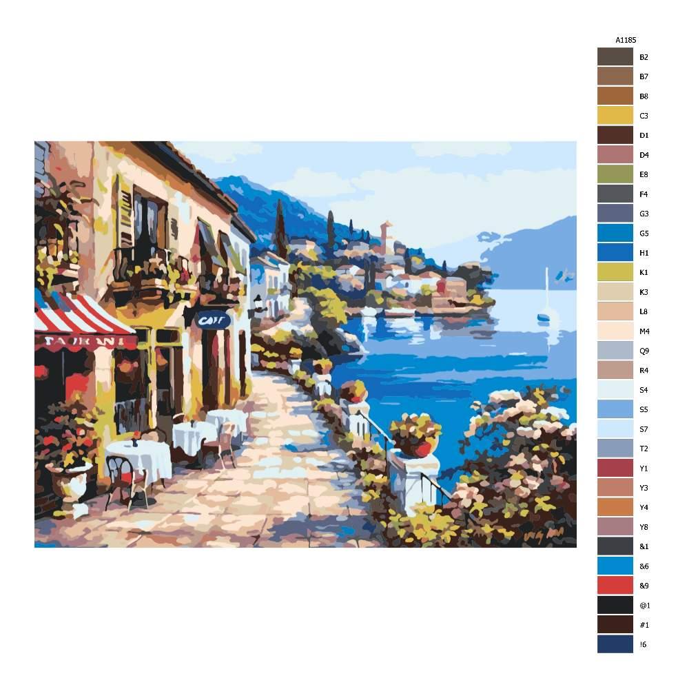 Návod pro malování podle čísel Přímořská kavárna