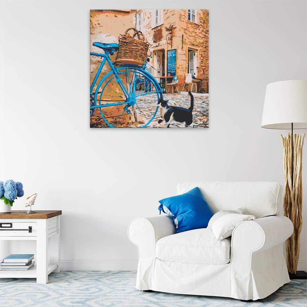 Malování podle čísel Modré kolo a kočka