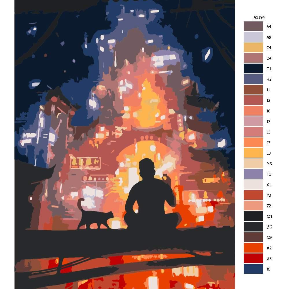 Malování podle čísel Muž hledící na město