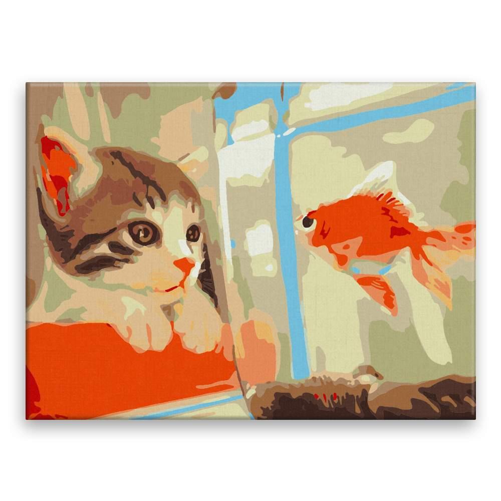 Malování podle čísel Kočka s rybou