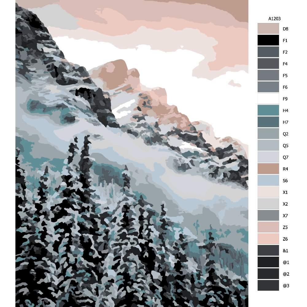 Návod pro malování podle čísel Horská příroda