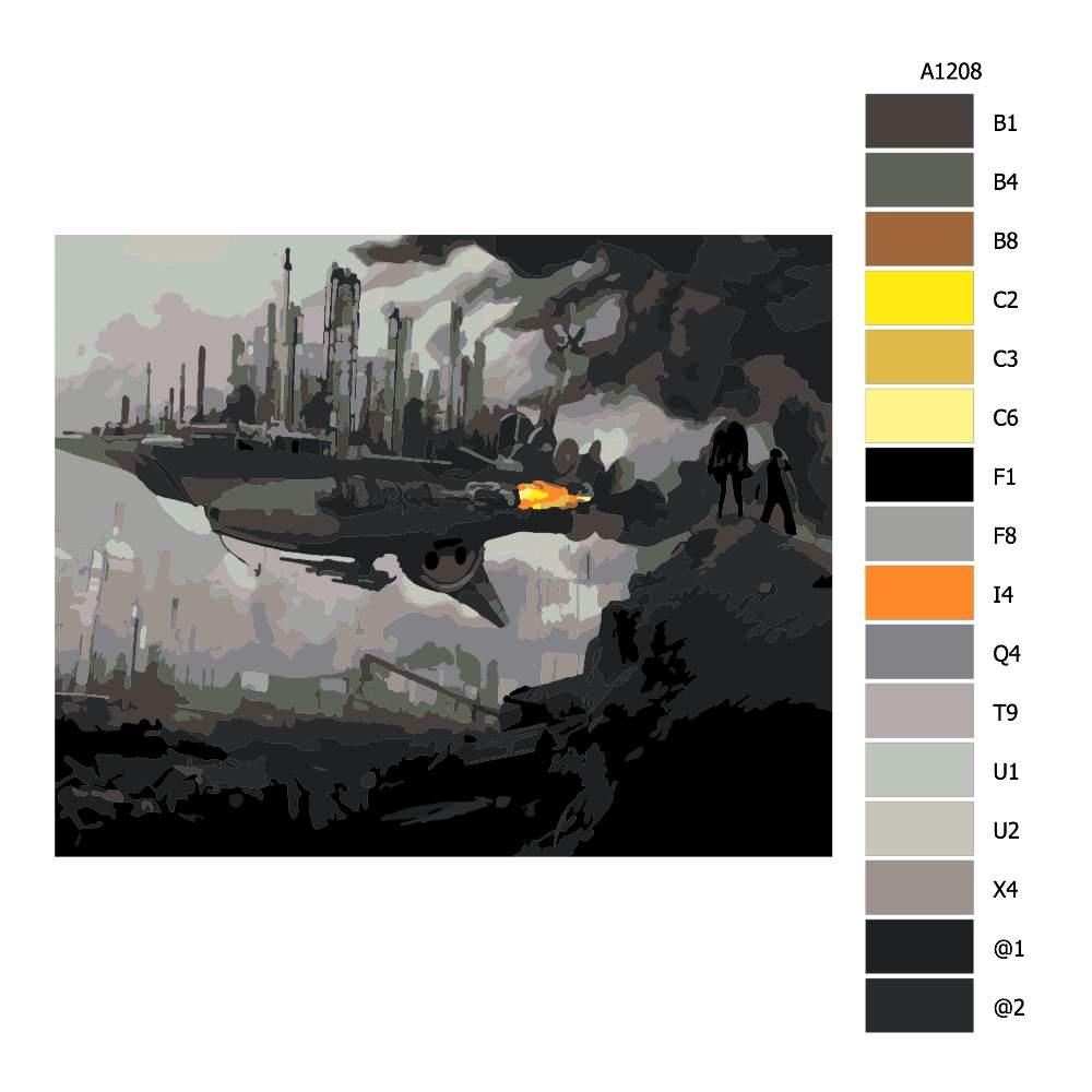Návod pro malování podle čísel Město na lodi budoucnost