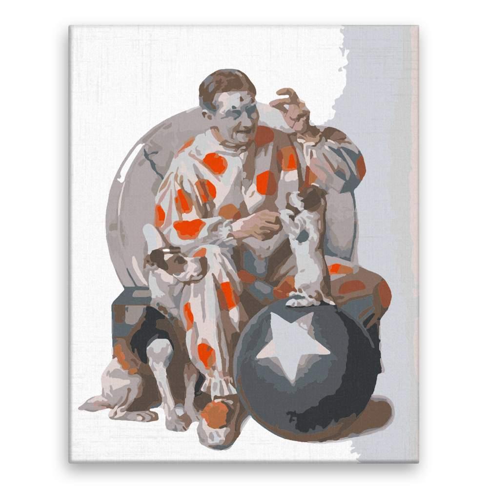 Malování podle čísel Klaun cvičí štěně