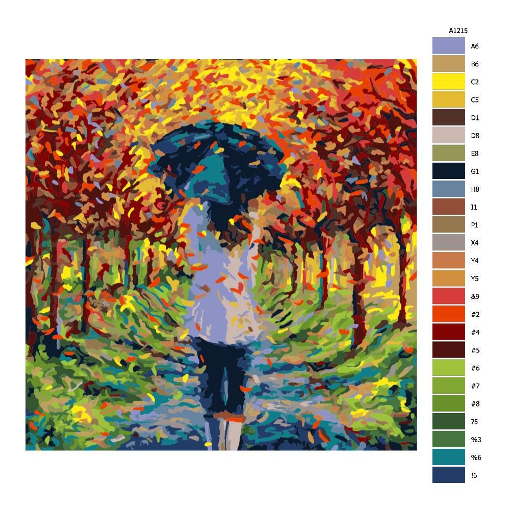 Návod pro malování podle čísel Dívka v podzimní aleji