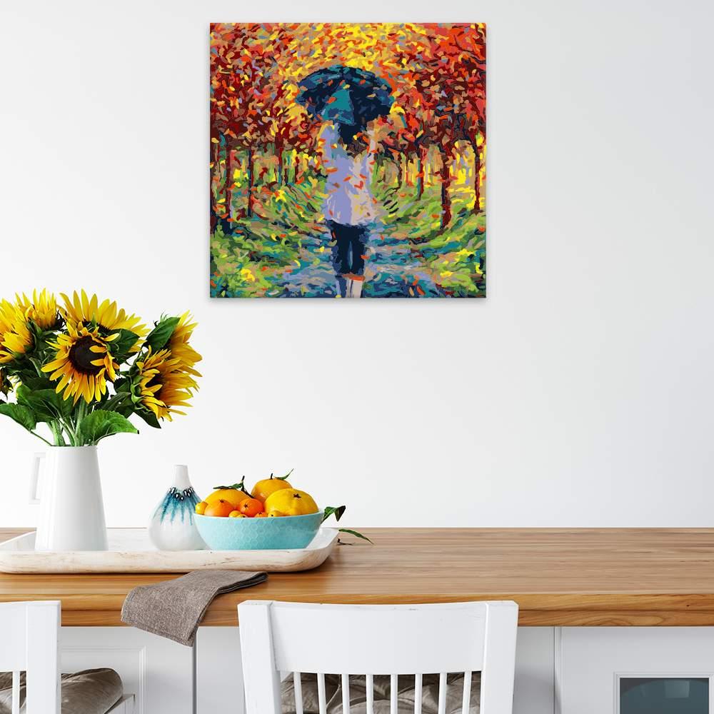 Malování podle čísel Dívka v podzimní aleji