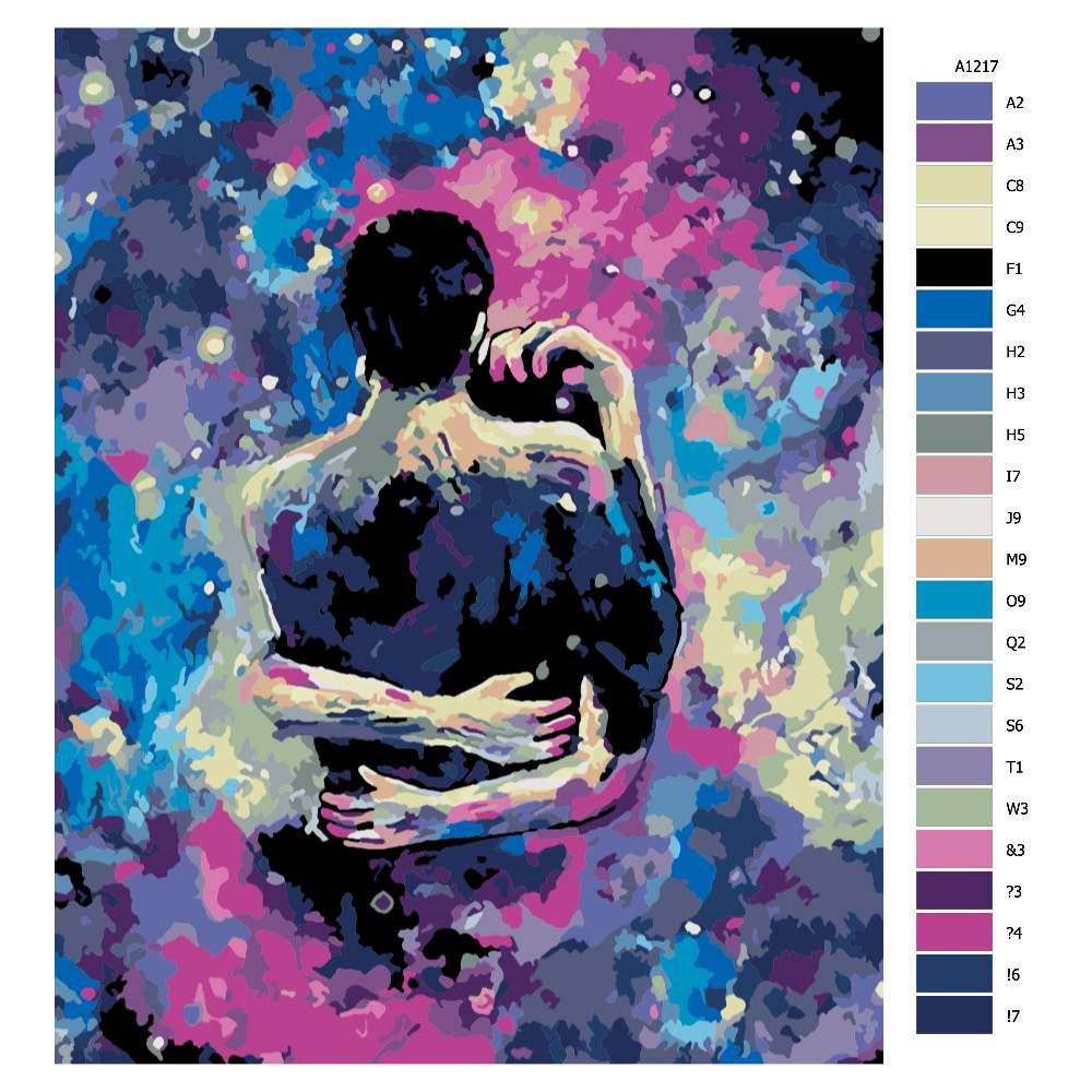 Návod pro malování podle čísel Milostný pár ve hvězdách