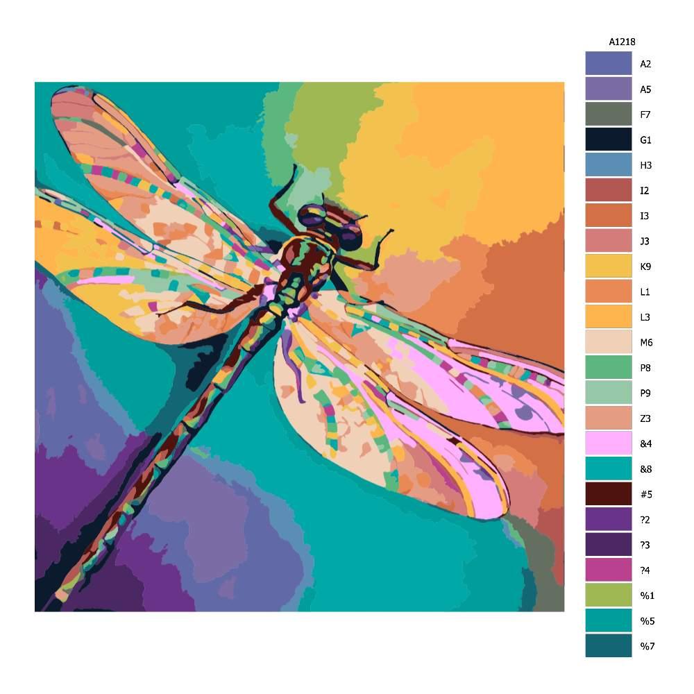 Návod pro malování podle čísel Barevná vážka